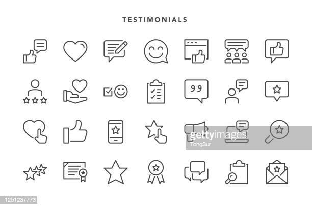 illustrazioni stock, clip art, cartoni animati e icone di tendenza di icone testimonianze - questionario