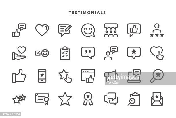 stockillustraties, clipart, cartoons en iconen met getuigenissen pictogrammen - feedback