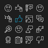 Testimonials line icons. Comments, recommend, feedback concepts. Modern graphic elements, minimal simple outline stroke thin line design symbols. Vector icons set