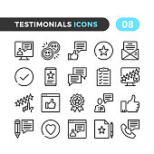 Testimonials line icons. Customer experience, client feedback, user review, online survey concepts. Modern stroke, linear elements. Outline symbols collection. Premium quality. Pixel perfect. Vector thin line icons set