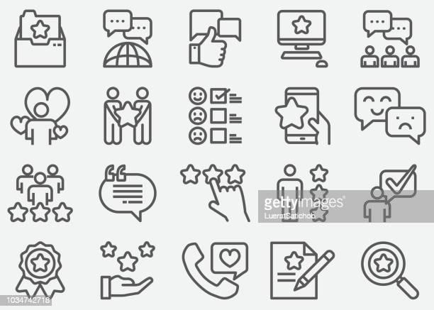 ilustrações, clipart, desenhos animados e ícones de ícones de linha de depoimentos - assistência