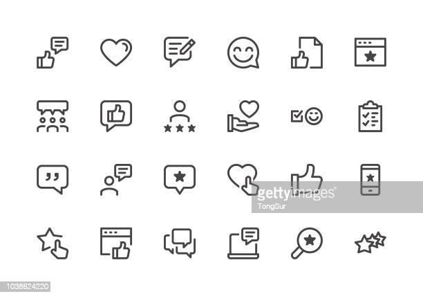 ilustraciones, imágenes clip art, dibujos animados e iconos de stock de testimonios - los iconos de línea - lealtad