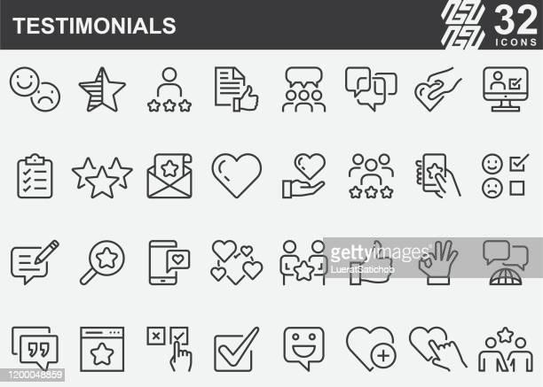 testimonials line icons - customer focused stock illustrations