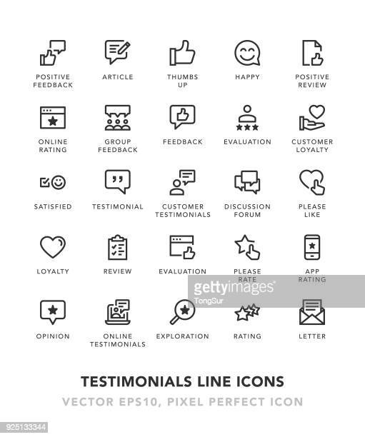 testimonials line icons - rating stock illustrations