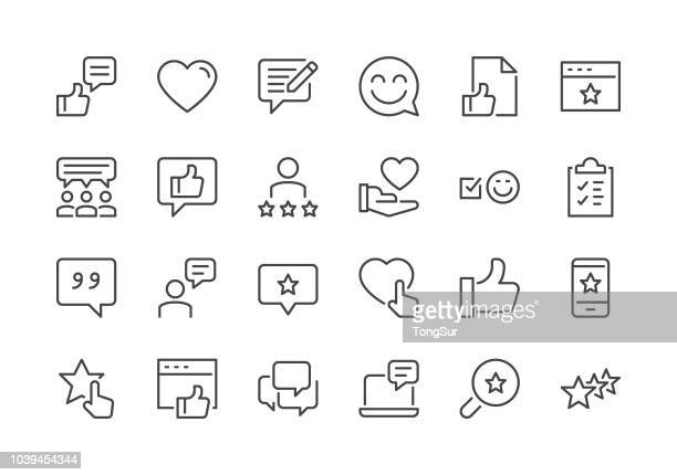 testimonials - regular line icons - exploration stock illustrations