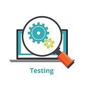 Testing laptop applications. flat illustration isolated on white background.