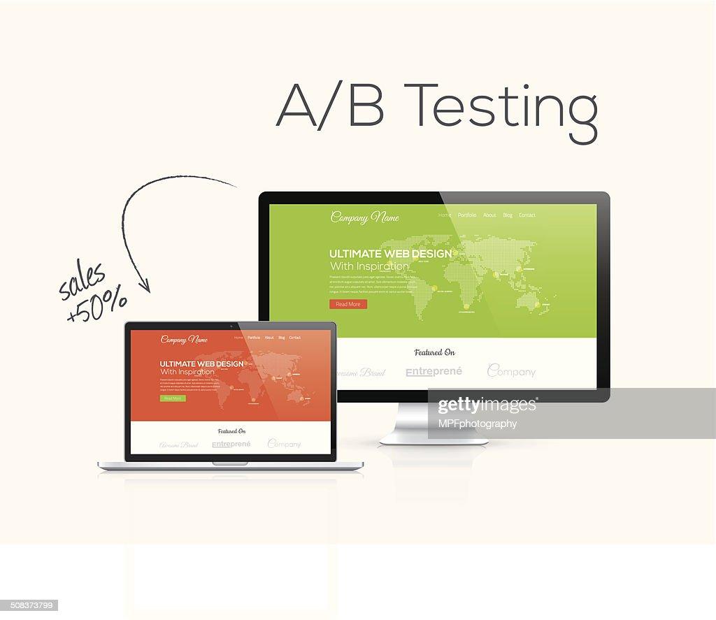 A/B testing optimization in website design vector illustration