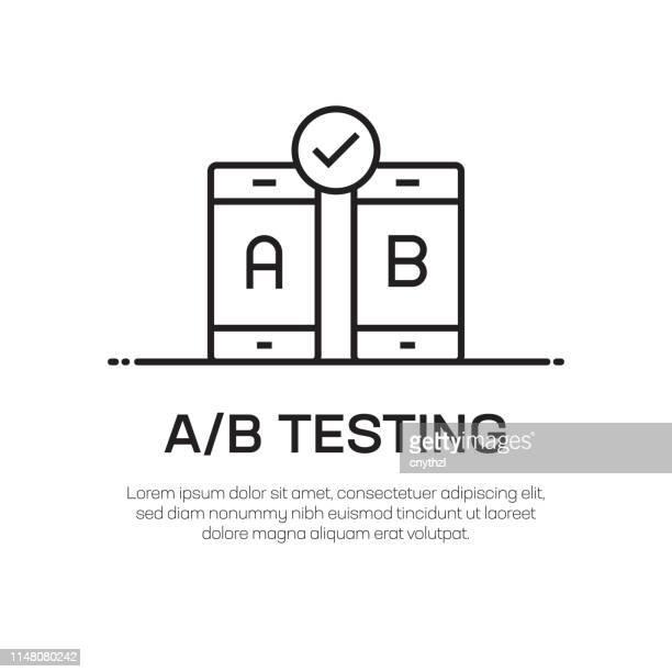 ilustrações, clipart, desenhos animados e ícones de a/b que testa o ícone da linha do vetor-ícone fino simples da linha, elemento superior do projeto da qualidade - mobile phone
