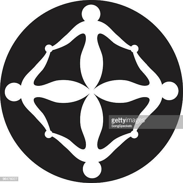 tetrad icon: four figures with linked arms in square position. - arm in arm stock illustrations, clip art, cartoons, & icons