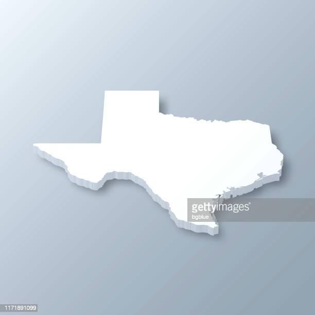 灰色の背景にテキサス3dマップ - 米メキシコ湾沿岸点のイラスト素材/クリップアート素材/マンガ素材/アイコン素材