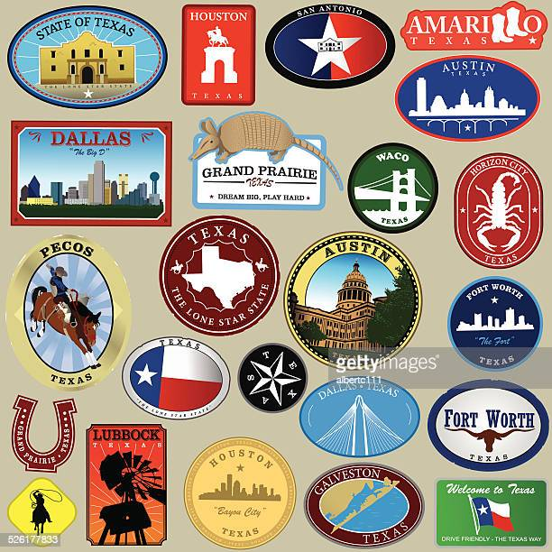 texas big decal collection - waco stock illustrations