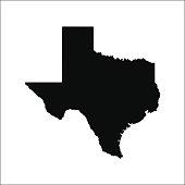 Texas black vector map flat design