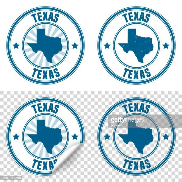 texas - blue sticker and stamp with name and map - texas stock illustrations