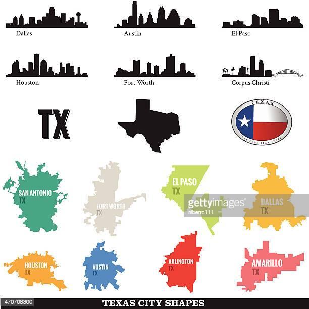 テキサスの町並みと街の形 - フォートワース点のイラスト素材/クリップアート素材/マンガ素材/アイコン素材