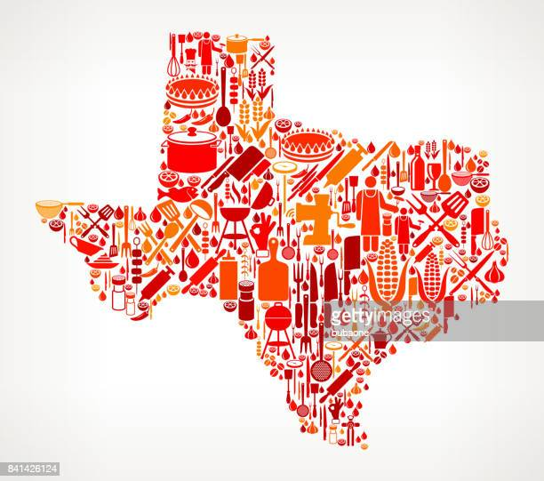 texas cooking and food vector icon pattern - icon collage stock illustrations