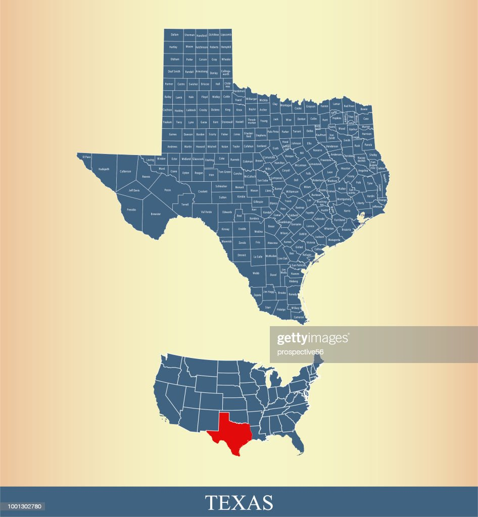 Texas county map outline vector illustration highlighted on USA map with counties names labeled