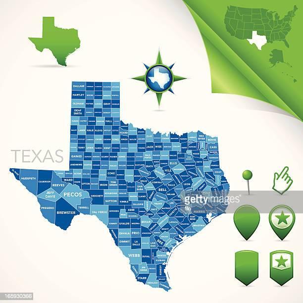 texas county map - texas stock illustrations