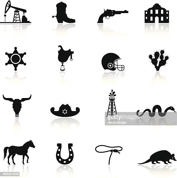 texas icon set - oil pump stock illustrations, clip art, cartoons, & icons
