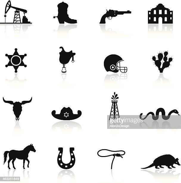 texas icon set - armadillo stock illustrations