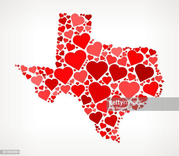 Texas Icon with Red Hearts Love Pattern