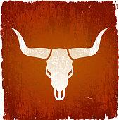 Texas Longhorn bull on royalty free vector Background