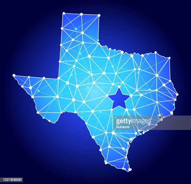 texas map  blue triangle node vector pattern - texas stock illustrations