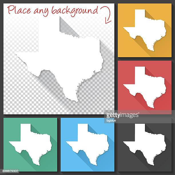 Texas Map for design, Long Shadow, Flat Design