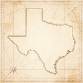 Texas map in retro vintage style - old textured paper