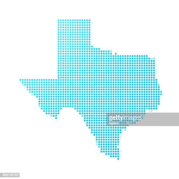 texas-karte der blauen punkte auf weißem hintergrund - texas stock-grafiken, -clipart, -cartoons und -symbole