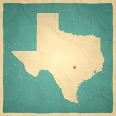 Texas Map on old paper - vintage texture