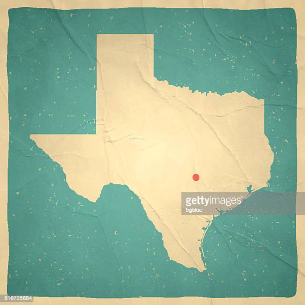 texas map on old paper - vintage texture - texas stock illustrations