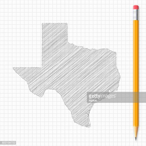 Texas map sketch with pencil on grid paper