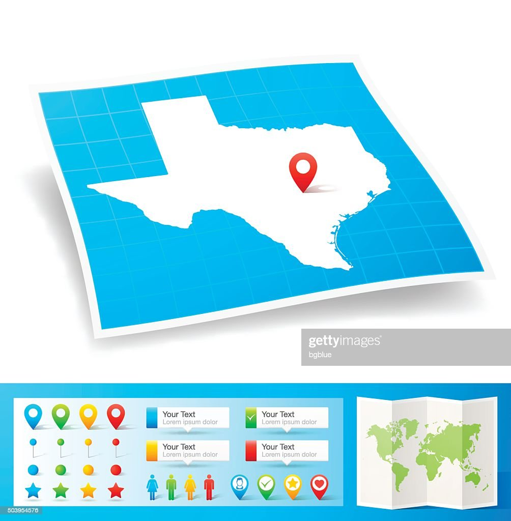 Texas Map with location pins isolated on white Background