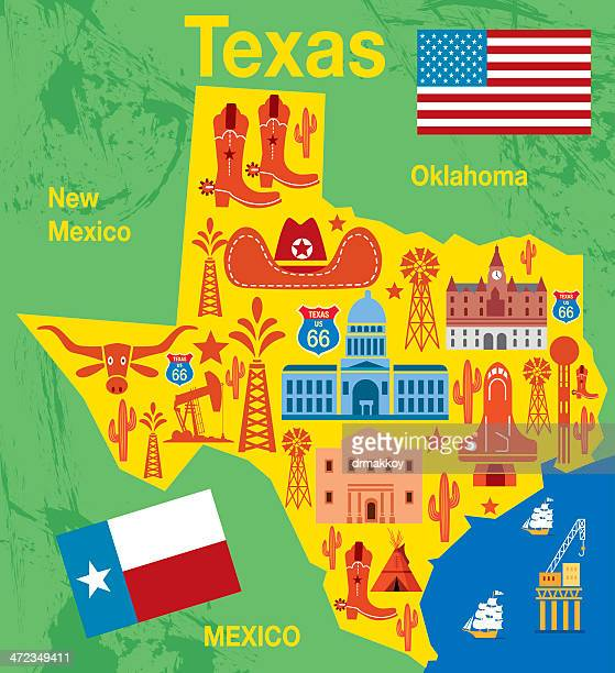 texas map with traditional state items illustration - san angelo texas stock illustrations