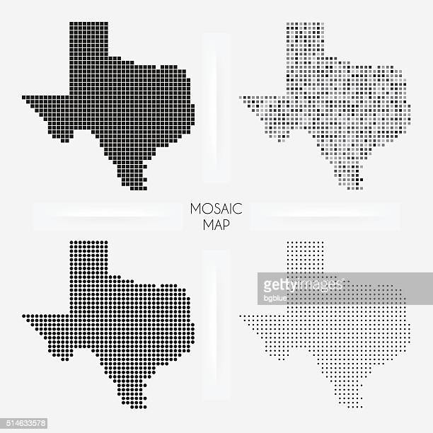 texas maps - mosaic squarred and dotted - texas stock illustrations
