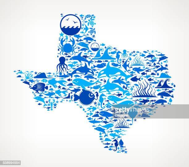 texas Ocean Marine Life Blue Icon Pattern