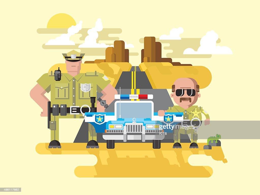 Texas police flat style