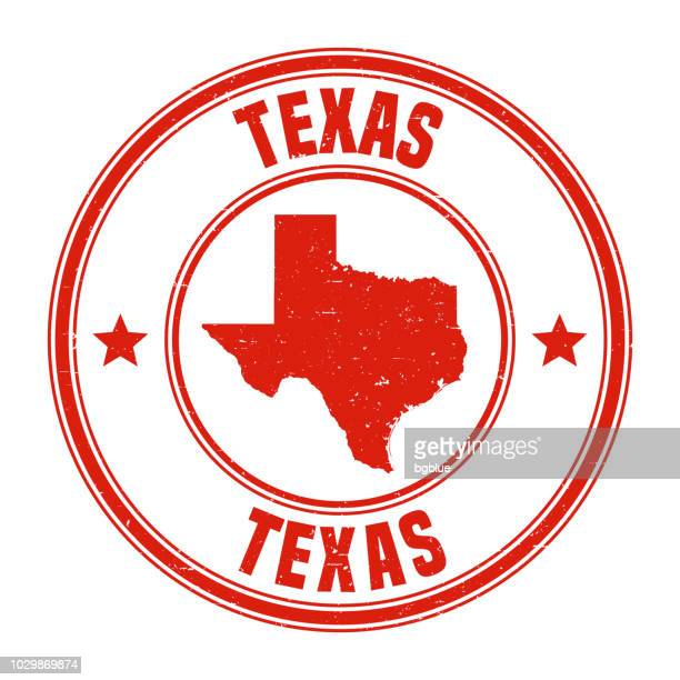 texas - red grunge rubber stamp with name and map - texas stock illustrations