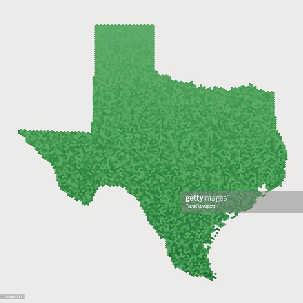 Texas State Map Green Hexagon Pattern : Stockillustraties
