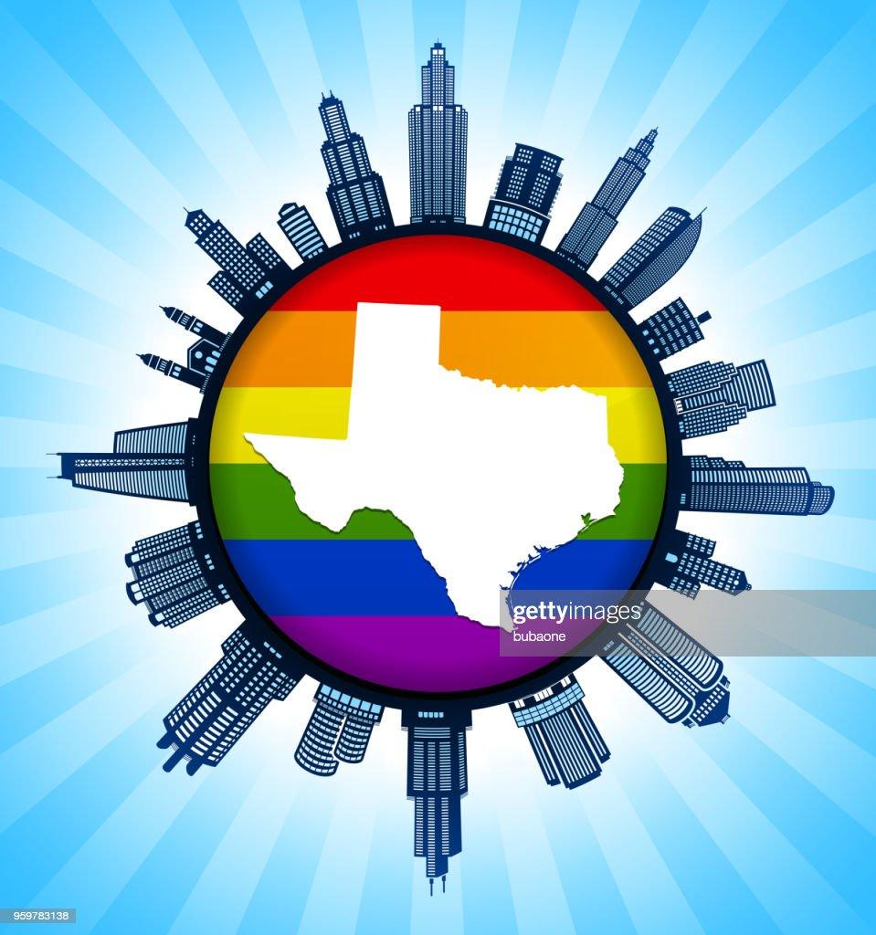 Texas State Map auf Gay Pride Stadt Skyline Hintergrund : Stock-Illustration