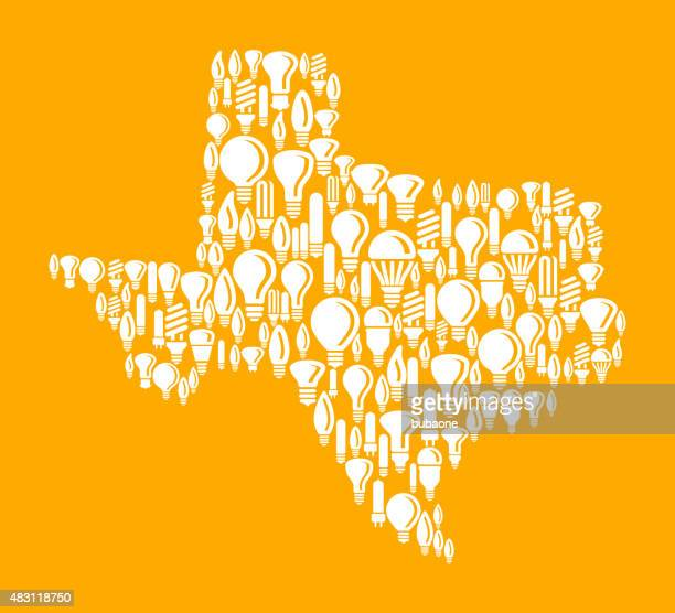 Texas State on Vector Lightbulb Pattern Background
