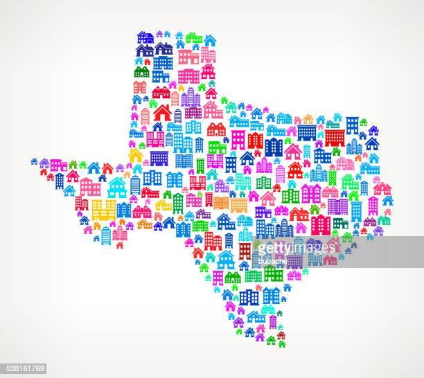texas state real estate lizenzfreie vektorgrafik muster - piktogramm collage stock-grafiken, -clipart, -cartoons und -symbole