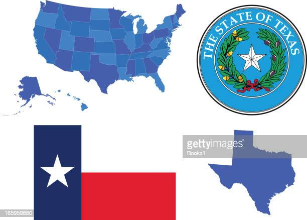 texas state set - texas stock illustrations