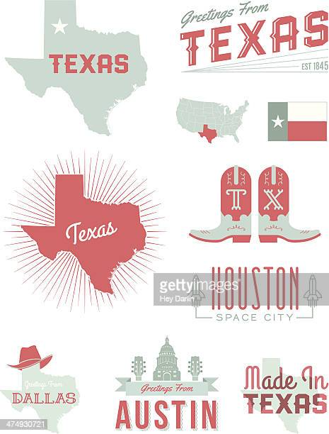 texas typography - texas stock illustrations