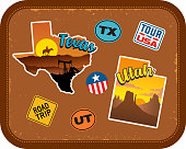 Texas, Utah travel stickers with scenic attractions and retro text