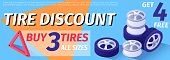 Text Banner Advertises Tire Discount, Sale Offer