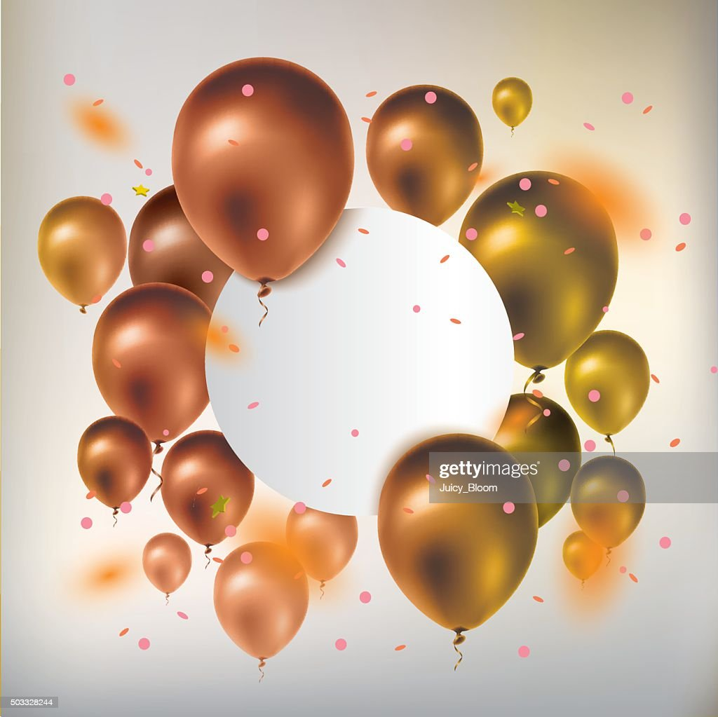 Text box banner with gold balloons and confetti.