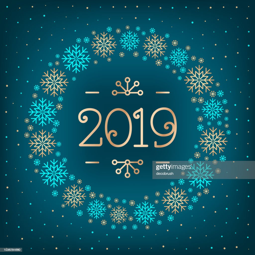 2019 text Christmas card Happy New Year holiday greeting card. 2019 number, wreath of snowflakes, dark turquoise elegant background. Vector illustration