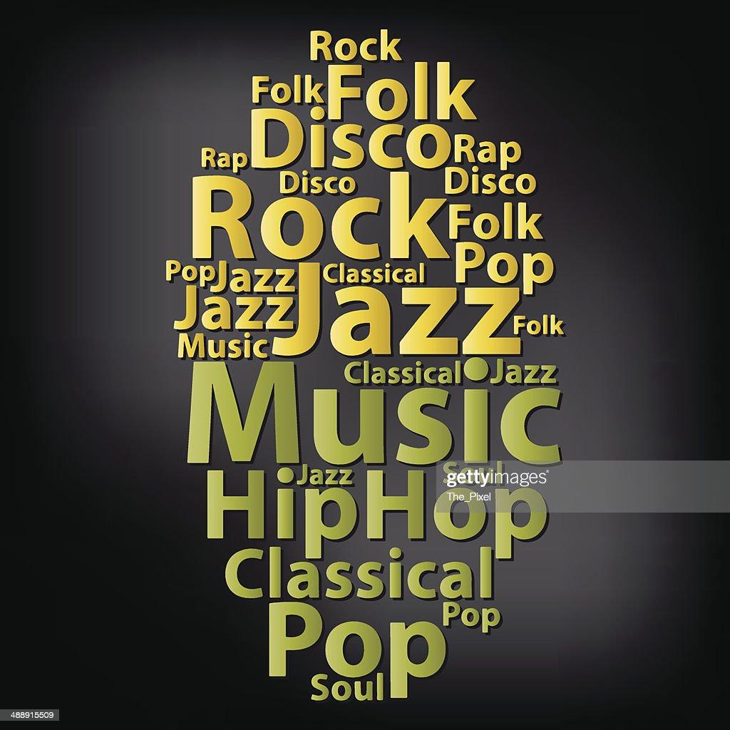 Text cloud. Music wordcloud. Tag concept. Vector illustration.