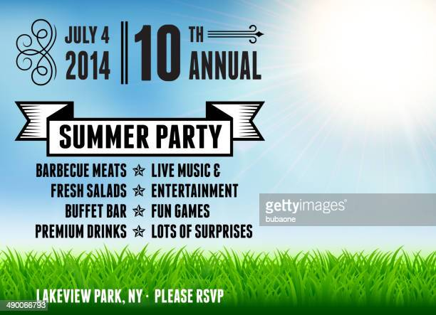 Text describing 4th of July Summer party on sky background with grass.